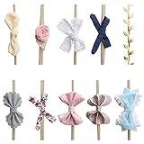 OOSAKU Neonati Fasce di nylon Fiocco di capelli floreale Elastici Accessori per capelli per neonati Neonati Bambini piccoli (Stile A)