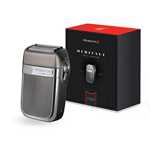Remington Heritage HF9000 Afeitadora de Láminas, Cuchillas Flexibles, Recargable, Resistente al Agua, Litio, Cromado, USB