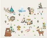 WAY2BB - Sticker décoration chambre d'enfant Tribu indienne des animaux