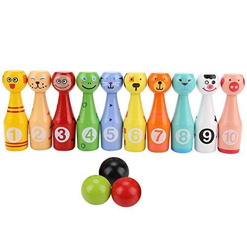 Fafeims Bowling Spielzeug Set, Kinder Pädagogisches Tier 10 stücke Bowling Flasche 3 Bälle Kinder Outdoor Spiel Holzspielzeug