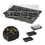 Relaxdays Mini Anzuchthaus mit 24 Fächern, transparente Abdeckhaube, Topfplatte mit Löchern, Wanne, Kunststoff, schwarz