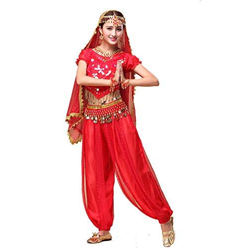 Bauchtanz Kostüme Arabische (Bauchtanz Tribal Tanz Outfits Tanzkleidung Bauchtanz Kostüm Set Indischer Tanz Top & Paillette Bauchtanz Hose)