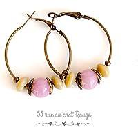 Orecchini, creole, perle rosa e beige, finitura in metallo bronzo