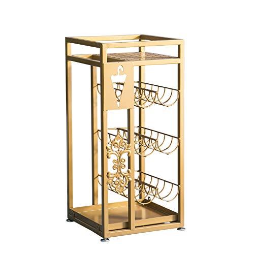 JKL Schirmständer/Blumenständer, Antik Metall Quadrat Schirmständer Floral Design Spazierstock Halter, 28x28x60cm (Farbe : Gold) -