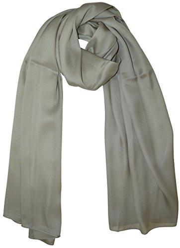 bba5abea2c076 XXL Seidenschal Seide Tuch Schals Tücher Stola Silk Einfarbig uni Halstuch  190cm X 95cm (graue