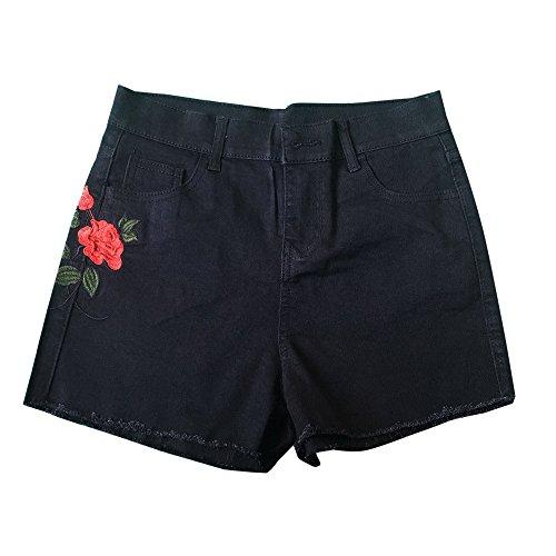 Rose Gestickt Panty (DBLSHA Mode Shorts Frauen Sommer Hohe Taille Shorts Denim Jeans Hot Beach Frauen Gestickte Rosen Gedruckt Jeans Kurze Feminino)