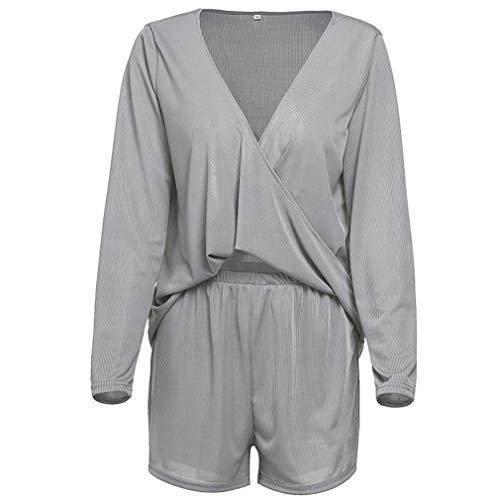 Grau Sweatsuit (LIGHTBLUE Damen Cross Neck Zweiteiler Sweatsuit Sweatshirt und Kurze Hosen Set Trainingsanzug, grau, M)