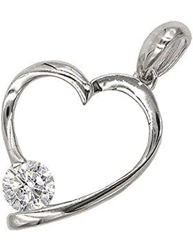 Anhänger Herz - Schmuckstück im Silber 925 Rhodium - mit einer Kristallperle
