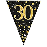 Oaktree UK Sparkling Fizz Black & Gold 30th Birthday Flag Bunting
