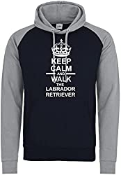 Keep Calm And Walk The Labrador Retriever Dog Baseball Hoody In Navy Blue & Heather Grey With White Text