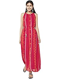 global desi Womens Round Neck Striped Maxi Dress-Pink-X-Large