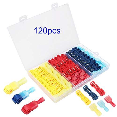 TOOHUI® 120Pcs T-Tap Cable Conector Kit, Empalme Rápido T-Tap, Conectores Eléctricos del...