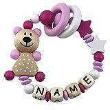 Premium Greifling mit Namen HOLZ Rassel Modell Teddybär Sterne weiß pink mit Glöckchen