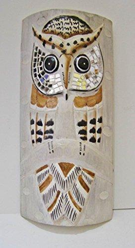 Maschera africana, saggio gufo intagliato a mano in legno, 33cm da appendere da Cornwall Art Prints