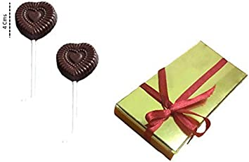 Swankit's Homemade Heart Shape Candy Lolipop Dark Chocolate 120 gm