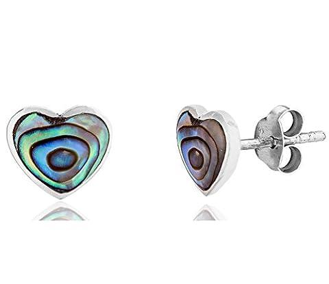 DTPsilver -Damen - Ohrringe 925 Sterling Silber und Abalone Paua Muschel - Herz - Ohrstecker