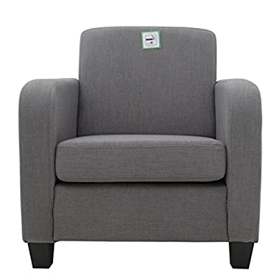 FoxHunter Linen Fabric Tub Chair Armchair Dining Living Room Lounge Office Modern Furniture Grey New