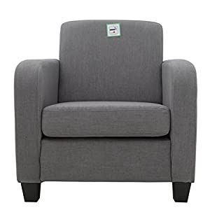FoxHunter Linen Fabric Tub Chair Armchair Dining Living Room Lounge Office Modern Furniture Grey