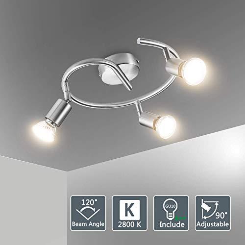 Bojim Plafonnier LED 3 Spot Orientables avec Ampoules GU10 6W Blanc Chaud, Applique Plafond Spirale 230V, 600lm, eqv.54W Non Dimmable