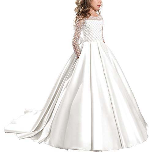 Flower Girl Dress Floor Length Long Sleeves Tulle Ball Gowns Kids Princess  Wedding Bridesmaid Trailing Dresses 113f33403945