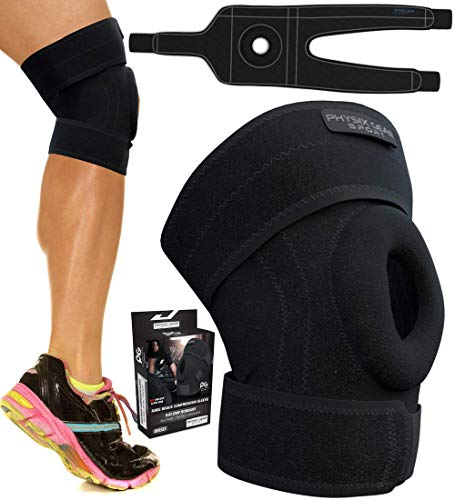 Physix Gear Knee Brace for Men and Women - Best Open-Patella Brace for Arthritis, Joint Pain Relief, Injury Recovery with Adjustable Strapping & Breathable Neoprene - Comfort Knee Sleeve BLK/Grey S