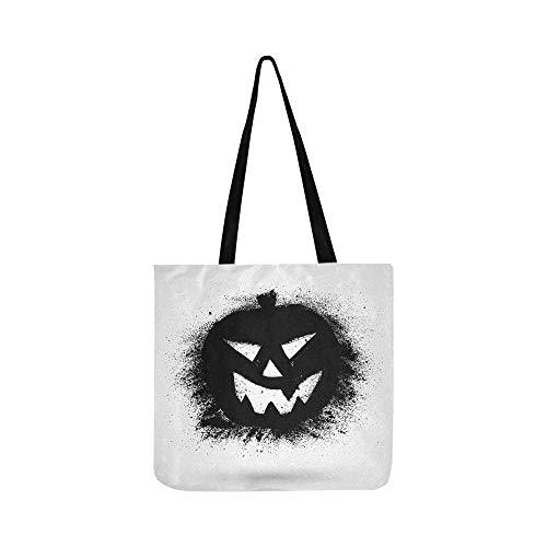 Grunge Halloween Kürbis Symbol Leinwand Tote Handtasche Schultertasche Crossbody Taschen Geldbörsen Für Männer Und Frauen Einkaufstasche