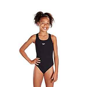 Speedo Girls Essential Endurance+ Medalist Swimsuit, Black, 34 inch