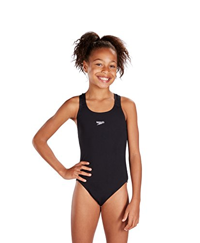 Speedo Girls Essential Endurance+ Medalist Swimsuit Speedo Swimsuit, Black, 12 Years (Manufacturer Size: 152 cm)