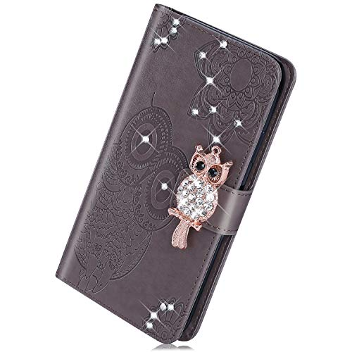 Kompatibel mit Huawei Mate 20 Handy Hülle, Herbests Luxus Glitzer Bling Eule Leder Handyhülle Brieftasche Leder Tasche Flip Cover Bookstyle mit Magnet Kartenfächer Standfunktion,Grau