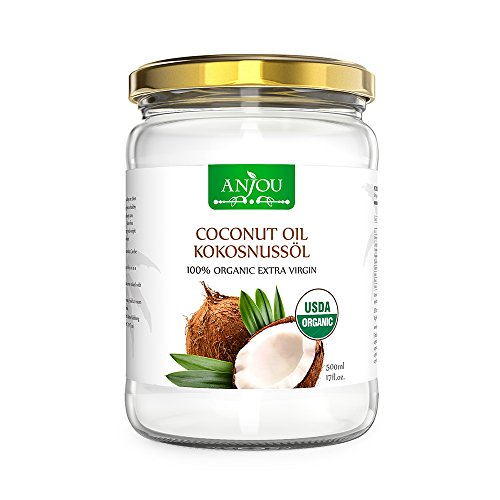 Coconut Oil from Sri Lanka, Anjou 500ml Organic Oil BPA-Free, Clean Cooking & Baking, Nourishes Skin & Hair, Endless Purposes, Oil Pulling, Oil Makeup Remover