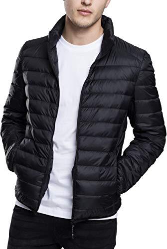 Urban Classics Herren Daunenjacke Basic Down Jacket, gefütterte Steppjacke für Herbst und Winter, praktisch verstaubar in mitgelieferter Tasche - black, Größe L