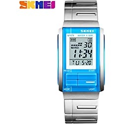 Multifunction sports watch fashion men's watches waterproof scratch resistant LCD backlight 50M waterproof watch(Blue)