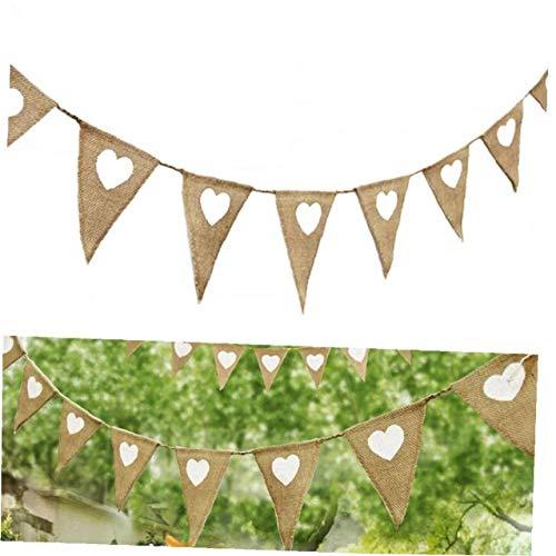 7pcs Flags Love Heart Rustic Bunting Garland Jute Leinwand Banner Vintage-Wimpel für Partei Halloween Geburtstag Hochzeit Braut Dekoration