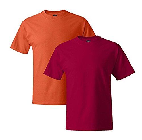 Hanes Mens 5180 Short Sleeve Beefy T 1 Deep Red / 1 Orange