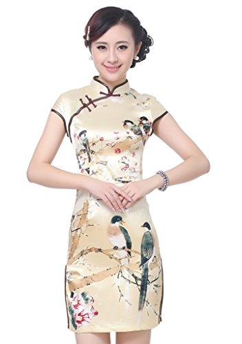 Bigood Robe Eté Femme Cheongsam Qipao Soirée Mariage Oiseau Fleur Jaune