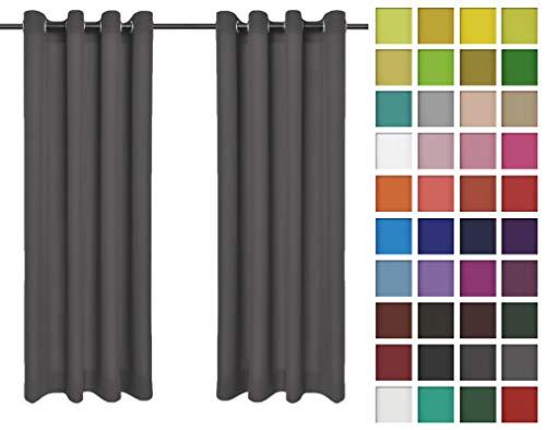 Rollmayer 2er Pack Vorhänge Schal mit Ösen Kollektion Vivid (Grafit 33, 135x150 cm - BxH) Blickdicht Uni einfarbig Gardinen Schal für Schlafzimmer Kinderzimmer Wohnzimmer 2 Stück -