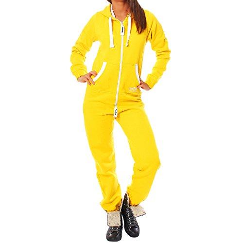 Jumpsuit Jogging Anzug Trainingsanzug Overall Gelb M (- Gelb Jumpsuit Kostüm)