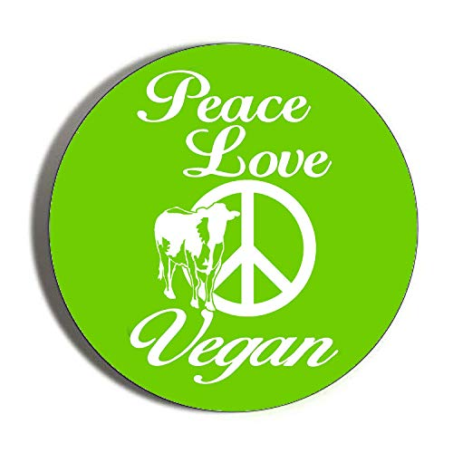 Gifts & Gadgets Co. Kühlschrankmagnet Peace Love Vegan CND Symbol rund 38 mm klein Bedruckt Neuheit