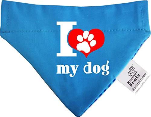 KLEINER FRATZ Hunde Durchzugstuch (Fb: Aqua-Kobalt) (Gr.L - 28 x 20 cm) I Love My Dog -