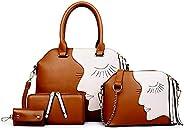 Women's Big Eyes Pattern PU Leather Four Pieces Set Shoulder Bags Tassel Messenger Bags EH