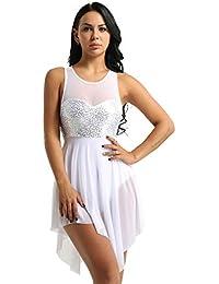 IEFIEL Sangles Robe de Soirée Femme Robe de Cocktail Asymétrique Justaucorps  de Ballet Danse Classique sans Manches Adulte Paillettes… ed3987ec21b