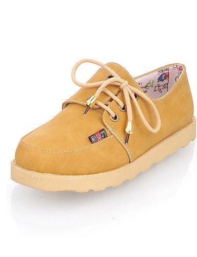 ZQ hug Scarpe Donna - Stringate - Casual - Punta arrotondata - Piatto - Finta pelle - Blu / Marrone / Giallo / Rosso , brown-us8 / eu39 / uk6 / cn39 , brown-us8 / eu39 / uk6 / cn39 yellow-us8 / eu39 / uk6 / cn39