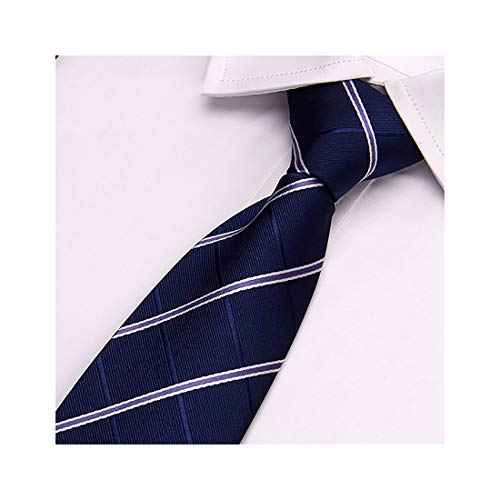 karierte Krawatte klassisch für Weihnachten, Hochzeit, Büro 8 cm(Dunkelblau + doppelte weiße Linie)