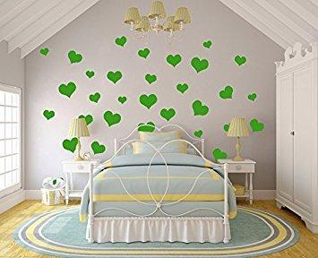 N. sunforest 40Lime-Tree Grün Love Hearts Vinyl Wand Aufkleber Abnehmbare DIY Dekor Aufkleber Baby Kinderzimmer Wandtattoo Kunst Wandbild