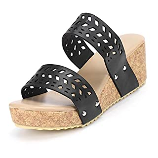 Moonuy Women Summer Fashion Wedges Shoes Retro Peep Toe Slipper Hollow Carved Lipper Women's Flip Flops Flat Sandals Bohemia Flower Beads Flat Slippers Outdoor Shoe Beach Shoes Comfortable Black