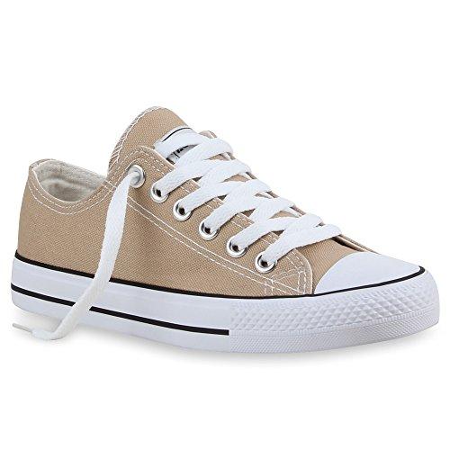 Stiefelparadies Damen Sneakers Turn Freizeit Low Sneaker Übergrößen Prints Glitzer Denim Schuhe 54124 Khaki Ambler 43 Flandell -