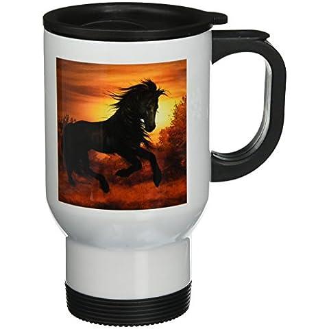 3dRose tm_62897_1: cavallo selvaggio al tramonto corsa Tazza da viaggio in acciaio INOX, 14G