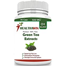 Healthawin 100% Green Tea Extract Supplement With 90% Polyphenols, 40 % Egcg & 60 % Catechin 500 Mg - 90 Capsules