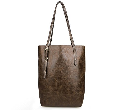 Hermiona Coffee Genuine Vintage Leather Womens Tote Shoulder Bag for Shopping Coffee
