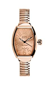 Glam Rock Art Deco Collection Women's Quartz Watch with Rose Gold Dial Analogue Display and Rose Gold Stainless Steel Plated Bracelet 0.96.3182